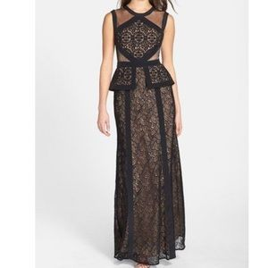 BCBG Vivana Embroidered Mesh Peplum Gown
